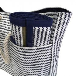Strandväska med rephandtag, smala ränder