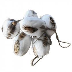 Påskägg, 6 cm med fjädrar och upphängning i 6-pack