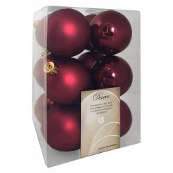 Julekugler, bordeaux,  6cm, 12stk/pakke
