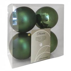 Julekugler, grøn, 10cm, 4stk,  2 stk/mat og 2 stk/blank