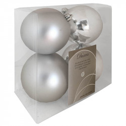 Julekugler, sølv, 10cm, 4stk,  2 stk/mat og 2 stk/blank