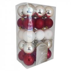 Julgranskulor, Silver-röd-vit mix, 6 cm, 30 st./förpackning