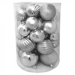 Julgranskulor, Silver-mix, 5-8 cm, 34-pack