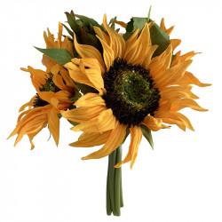 Solsikke buket, 3 blomster, 25cm, kunstig blomst