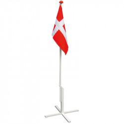 Flaggstång 180 cm med kryssfot och fastmonterad dansk flagg