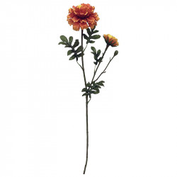 Fløjlsblomst, m 2 hoveder, 64cm, orange, kunstig blomst