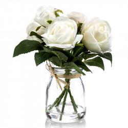 Rosbukett i glas, 5 st, vit, 18 cm, konstgjord blomma