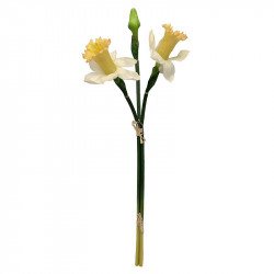 Påskliljor i knippe, 3 st, Vit/Gul, H52cm, konstgjord blomma