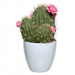 Kaktus med rosa blommor i kruka, 32 cm, konstgjord växt