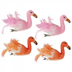 Flamingo med klämma, 13cm, 4 st per förpackning, konstgjord djur