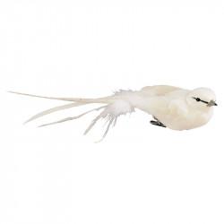 Fugl med klips, 4x18cm, hvid, kunstig dyr