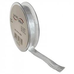 Dekorationsband med kanttråd 15mm, Silver