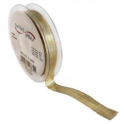 Dekorationsband med kanttråd 15mm, Guld