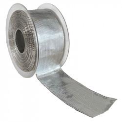 Dekorationsband med kanttråd - 40mm, Silver