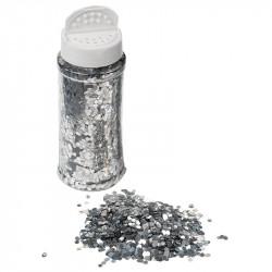 Glitter i 110 gram strödosa, silver