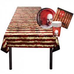 Skräck/Clown-servis för 6 pers. med duk