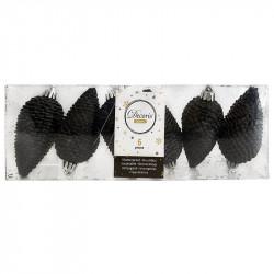 Grankottar, 8 cm med upphängning och glitter, i 6-pack, svat t