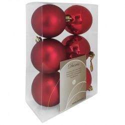 Julekugler, rød, 8cm, 6stk./pakke