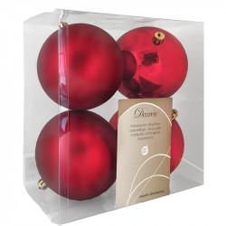 Julekugler, rød, 10cm, 4stk./pakke