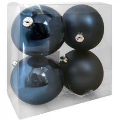 Julekugler, mørkeblå, 10cm, 4stk,  2 stk/mat og 2 stk/blank