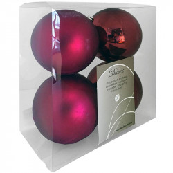 Julgranskulor, bordeaux, 10 cm, 4st./förpackning