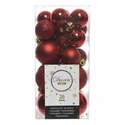 Julgranskulor, Röd, mix, 3-4cm, 26st/paket
