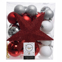 Julekugle mix m stjerne, rød, sølv, hvid