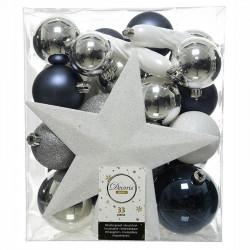 Julgranskulor mix m Stjärna. Blå, Vit, Silver