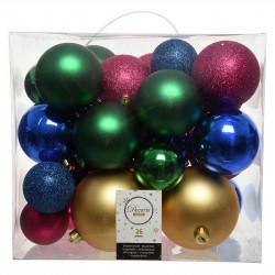 Julgranskulor mix Blå, Grön, Guld, Magenta, 26 st. blandat