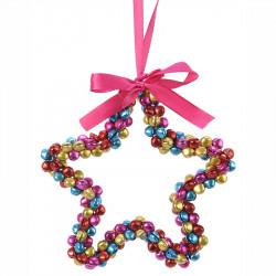 Stjärna m multifärgade pärlor och rosa upphängninssnöre