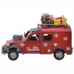 Bil med paket och kottar till dekoration, Röd