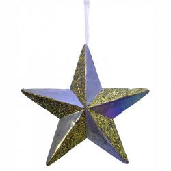 Stjärna i hårdskum m hänge, lila glans, 40x40cm