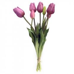 Tulpanbukett, 47 cm med 7 blommor Mauve, konstgjord blomma