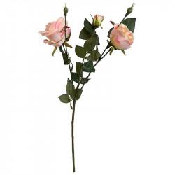 Rosenkvist m 3 blommor & m 2 knoppar, persika, konstgjord bl