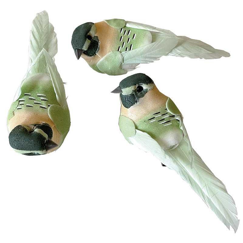 Fåglar med clips, ljusgröna, 10,5 cm, 3 st per förpackning.